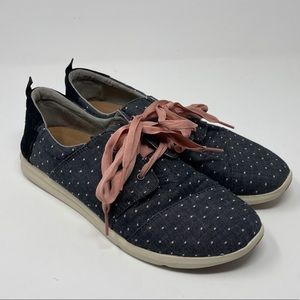 Toms Del Ray Womens Size 12 Sneakers Gray White Polka Dot Pink Ribbon Lace Up